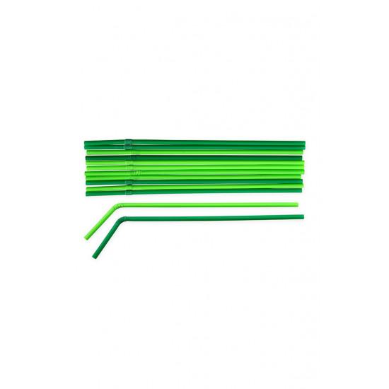 Трубочки BIO с коленом Ø=5мм, d=240мм | Зеленые/Темно-зеленые (40шт/уп)