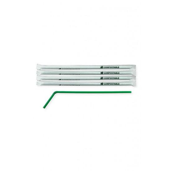 Трубочки BIO с коленом в инд. упаковке Ø=6мм, d=240мм | Темно-зеленые (400шт/уп)