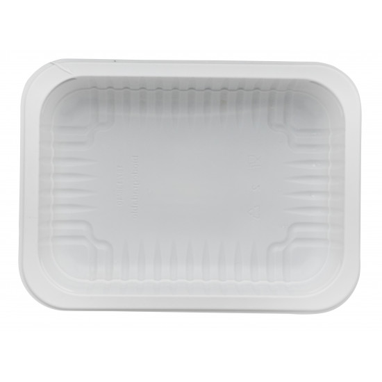 Контейнер прямоугольный (лоток) под запайку 950мл | Белый кукурузный крахмал 190*140*50мм